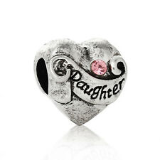 Daughter I love You Pink Rhinestone Heart October Gift Bead for Charm Bracelets
