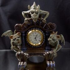 Three Green Gargoyles on a Brown Clock with Claw Feet Resin Figurine Clock Works