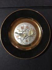 IMPERIAL CHOKIN METAL ENGRAVING PLATE BIRDS JAPAN 24K GOLD Yoshinobu Hara #'d