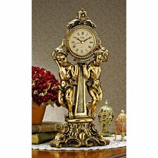 Rococo Style Antique Gold Finish Angel Cherub Mantle Clock Clocks NEW