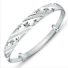 Fashion Jewelry Women 925 Sterling Silver Plated Adjustable Cuff Bracelet Bangle