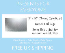 """2 x 14"""" x 10"""" Inch 3mm Thick Oblong Rectangular Cake Board"""