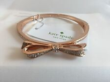 New Kate Spade Clear Rose Gold Large Bow Hinge Bangle Love Notes (Retail $58.00)