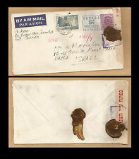 1955 Canada to Israel military censored revalued cancel on cover stamp censor