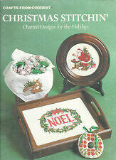 Counted Cross Stitch Christmas Pattern Book Santa Wreath Ornaments Current 1984