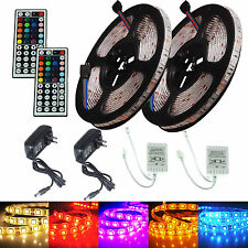 2 KITS=5M SMD RGB 5050 Waterproof 300LED Strip light +44 Key Remote +12V Power