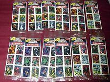 VINTAGE MARVEL COMICS SUPERHEROES STAMP STICKER SET (6) LOT (10) SEALED PK 7414M