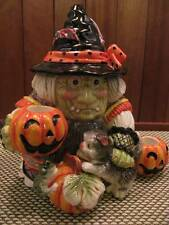 2006 Fitz and Floyd Witch Gypsy JackOLantern Cat Candle Holder Table Top 668/125