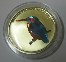KONGO CONGO 10 FRANCS 2004 EISVOGEL KINGFISHER BIRD PAMP FARBE COLOUR SILBER PP