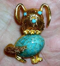 Vintage Gold Brushed Dog Pin Brooch Faux Turquoise Body Nose Eyes