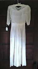 Antique Edwardian Dress | White Cotton Batiste Tea Gown 1910s Embroidered Dress
