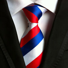 Classic Mens Silk Tie Necktie Red White Blue Stripes Woven JACQUARD Neck Ties