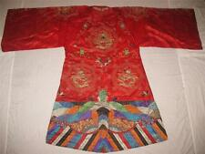 BEAUTIFUL ANTIQUE CHINESE EMBROIDERED WOMAN'S DRAGON THEATRICAL ROBE EMBROIDERY!