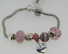 NEW PERSONA STERLING SILVER PINK CHARM BRACELET W/ TAG & CHARMS  RETAIL IS $225