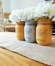Painted Mason Ball Jars set of 3 - Perfect for Weddings & Home decor