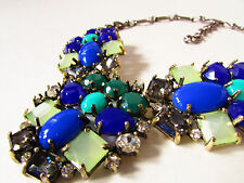 Stunning blue theme large multi colored faced beads & crystal statement necklace