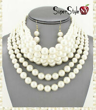 6 Row Multi Layered Beads Pearl Necklace Earrings Strand Bib Choker Evening SET
