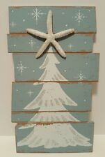 "Christmas Tree Starfish Wood Planked Wall Sign 15.5"" Coastal Blue White Beach"
