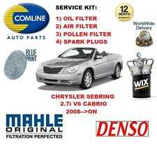 FOR CHRYSLER SEBRING 2.7 V6 CABRIO 2008-- ON OIL AIR POLLEN FILTER SERVICE KIT