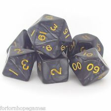 Grey Pearl poly dice set 7 polynomial for d20 RPG roleplay black