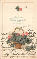 BG4514  namenstage  clover embossed name day happy birthday germany greetings