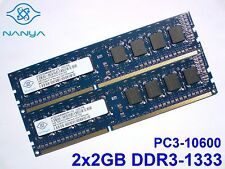4GB 2x2GB DDR3-1333 PC3-10600 1333MHz NANYA NT2GC64B88B0NF-CG PC DESKTOP MEMORIA
