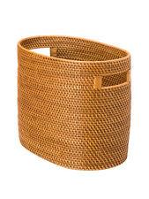 Laguna Oval Handwoven Rattan Magazine/Newspaper Basket, Honey Brown