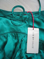 NEW + SEE BY CHLOE EMERALD DRESS + RRP £549 + SIZE IT 40 - UK 8 + GREEN