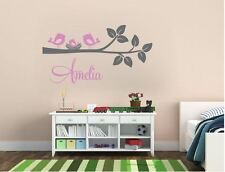 Wall Stickers custom name birds branch nest vinyl decal decor Nursery removable