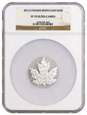 2015 Canada $20 1 Oz Proof Silver Maple Leaf Shape Coin NGC PF70 UC SKU37335