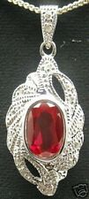 Gorgeous Lab created Ruby Silver Pendant #80p