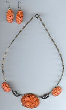 VINTAGE STERLING FAUX CORAL CARVED GLASS FLOWERS MARCASITE NECKLACE & EARRINGS