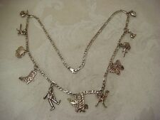 STERLING SILVER CHARM NECKLACE 925 CURB LINK CHAIN BUTTERFLY FLOWER BOOT FISH
