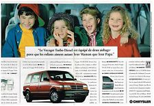 Publicité Advertising 1994 (2 pages) Le Voyager Turbo Diesel Chrysler