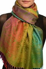 Mirrored Ombre Paisleys On Olive Green Pashmina With Tassels (SF002566)