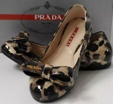 PRADA SZ UK2 US5 EU35 PATENT LEATHER LEOPARD PRINT BOW BALLET PUMPS FLAT SHOES