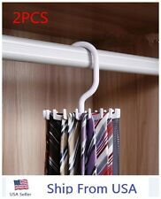 2 Rotating Tie Rack Adjustable Tie Hanger Holds 20 Neck Ties Tie Organizer