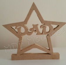 18mm Wooden Standing MDF Dad In Star. Unpainted Craft Shape. Fathers Day