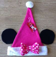 """Disney Minnie Mouse Ears Pink Santa Hat Mickey 17"""" Christmas Holiday Cap Youth"""