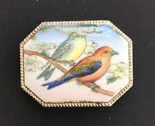 Vintage Brooch - South African Painted Porcelain Brooch Twin Bird Design