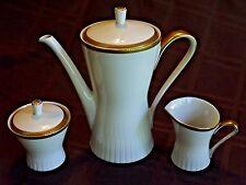 Vintage ZEH SCHERZER Bavaria Porcelain Coffee / Tea Set ~ Gold Checkered Trim