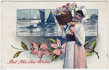 GIRL & FLORAL BASKET -  Best New Year Wishes -  c1900s era Embossed postcard