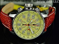 Invicta Men's 46mm I Force Lefty Quartz Chrono Yellow Dial Brown Leather Watch