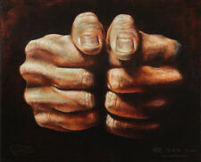LEO PLAW - ORIGINAL figurative oil painting - Hands - Feeling Lucky