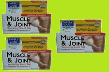 3 - Family Care Muscle & Joint Vanishing Scent Gel Pain Relief like Bengay 2oz