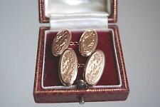FINE ANTIQUE EDWARDIAN 9 CARAT ROSE GOLD FOLIATE ENGRAVED OVAL CUFFLINKS 4.3G
