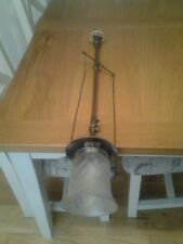 Original Victorian converted Gas Pendant ceiling light & Frosted shade