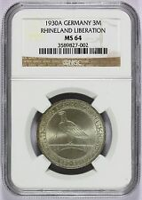 1930-A Germany Rhineland Liberation 3 Reichsmark Silver Coin KM# 70 - NGC MS 64