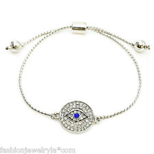 Fashion Silver Crystal Evil Eye Protection Adjustable Bracelet