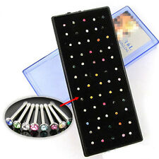 60x Stainless Steel colorful Rhinestone Nose Ring Bone Stud Piercing Jewelry